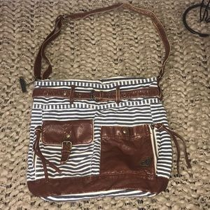 Roxy Striped Hobo Purse Brown Cross Body
